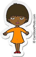 sticker of a cartoon woman in dress
