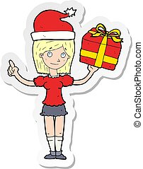 sticker of a cartoon woman with gifts