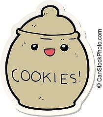 sticker of a cute cartoon cookie jar