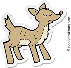 sticker of a cute cartoon deer