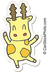 sticker of a cute cartoon giraffe