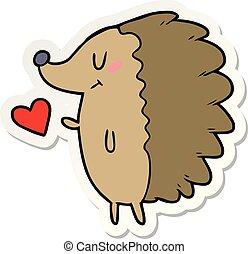 sticker of a cute cartoon hedgehog