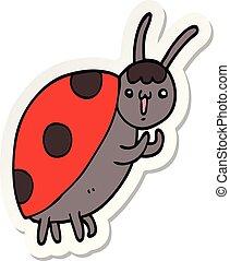 sticker of a cute cartoon ladybug