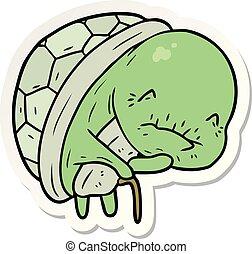 sticker of a cute cartoon old turtle
