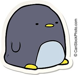 sticker of a cute cartoon penguin