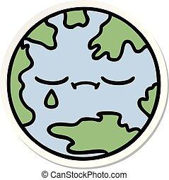 sticker of a cute cartoon planet earth