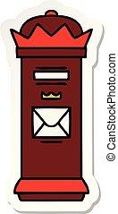 sticker of a cute cartoon post box