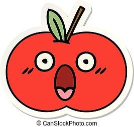 sticker of a cute cartoon red apple