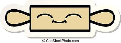 sticker of a cute cartoon rolling pin