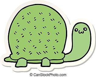 sticker of a cute cartoon turtle
