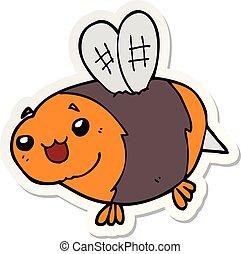 sticker of a funny cartoon bee