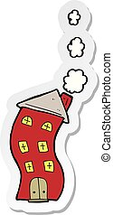 sticker of a funny cartoon house