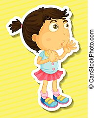 Sticker of a girl counting