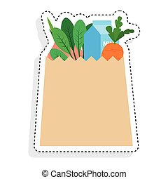 Sticker of a grocery bag icon