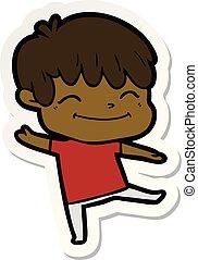 sticker of a happy cartoon boy