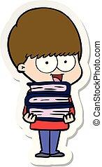 sticker of a happy cartoon boy holding books