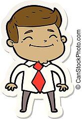 sticker of a happy cartoon businessman