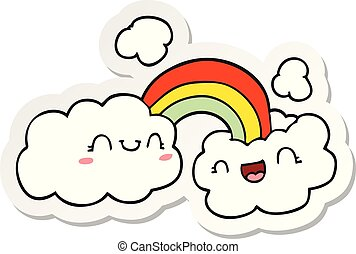 sticker of a happy cartoon clouds and rainbow