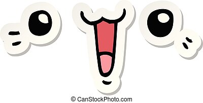 sticker of a happy cartoon face