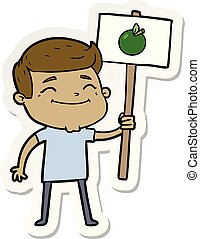 sticker of a happy cartoon man with apple placard