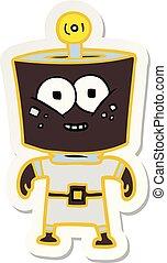 sticker of a happy energized cartoon robot