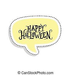 Sticker of a happy halloween label