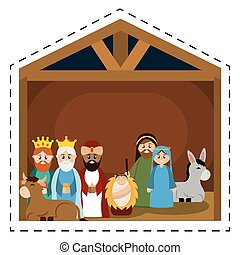 Sticker of a nativity