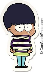 sticker of a nervous cartoon boy carrying books