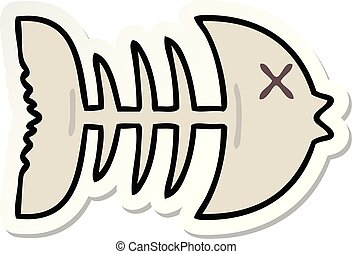 sticker of a quirky hand drawn cartoon dead fish bone