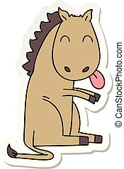 sticker of a quirky hand drawn cartoon horse