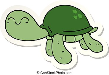 sticker of a quirky hand drawn cartoon turtle