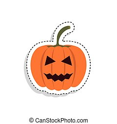Sticker of a scary halloween pumpkin