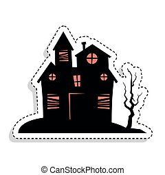 Sticker of a scary haunted house