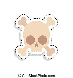 Sticker of a scary skull icon
