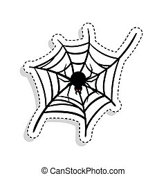 Sticker of a scary spider over a spiderweb