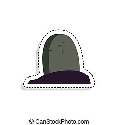 Sticker of a scary tombstone icon