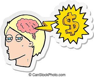 sticker of a thinking of ways to make money cartoon