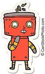 sticker of a uncertain cartoon robot