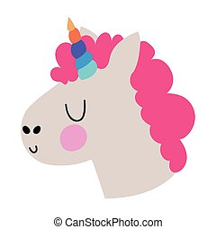 sticker of a unicorn with pink hair