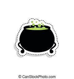 Sticker of a witch pot with potion