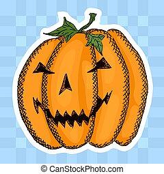 sticker of an evil pumpkin on a blue checkered background. ...