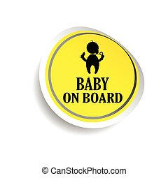 sticker of baby on board yellow vector