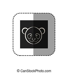 sticker of black background square with face of panda