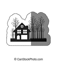 Sticker Of Black Silhouette Cottage In The Forest White Background