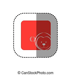 sticker of color background square with face of monkey