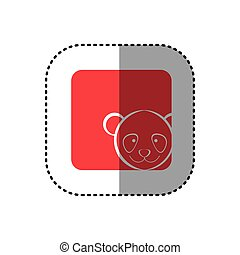 sticker of color background square with face of panda
