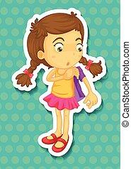 Sticker of girl wearing jacket