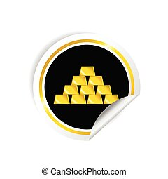 sticker of gold bullion vector in colorful