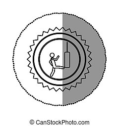 sticker of monochrome circular frame with contour sawtooth of pictogram with man kicking a punching bag