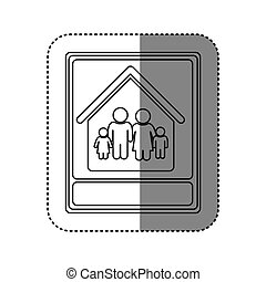sticker of monochrome contour with portrait of family in home